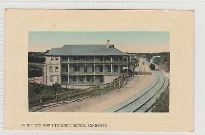 VINTAGE POSTCARDS TRAIN AND ROAD BACK TO SORRENTO BEACH VICTORIA   1900s