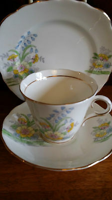 Colclough Genuine Bone China Trio Made In England 6589 Vintage Collectable