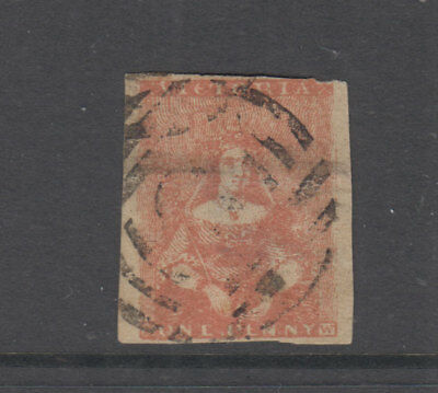 VICTORIA 1854 1d Orange-red  HALFLENGTH-Campbell & Co- SG23 Cat £140 FU thin
