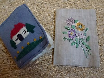 Vintage Embroidered and felt needle cases