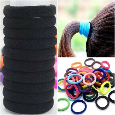 10 THICK ELASTIC Hair Ties 8mm Spandex Head Bands Ponytail School Girls Women