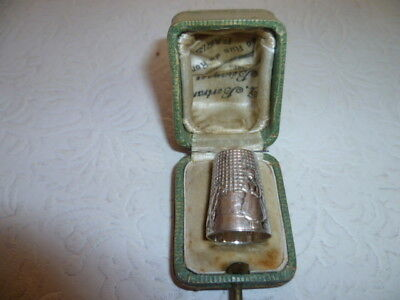 Solid Silver French Fairytale Thimble in Original Box c1910 J Ley