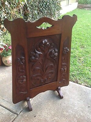 Antique Art Nouveau Wooden Fire Screen
