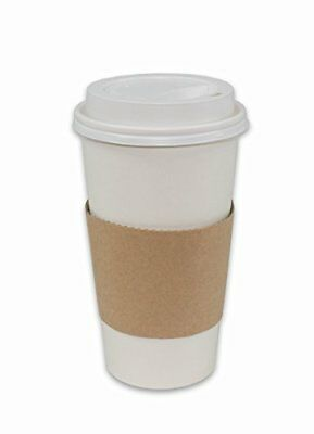 100 Pack Paper Coffee Hot Cups WHITE with Travel Lids and Sleeves - 20OZ