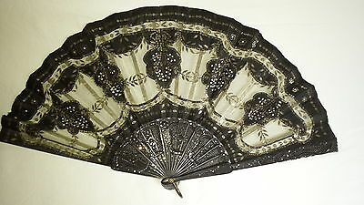 Handheld Fan Ebony sticks, fine metal gauze leaf, steel spangles C1920s