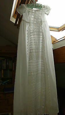 Exquisite vintage christening gown -White Ayrshire hand embroidery