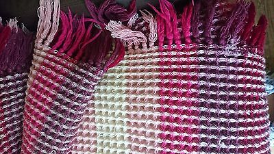 Antique Welsh Wool Waffle Blanket with frills - pinks