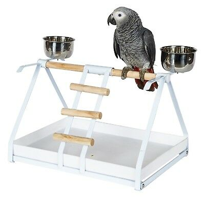 Parrot Play stand with Feeders Light Weight Easy to clean Plastic Tray Senegals