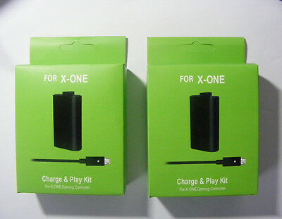 USB Charger Cable  + 2X Battery Pack for Microsoft Xbox One Wireless Controller