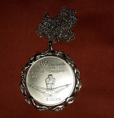 Montreal Olympics 1976 5 dollars silver Medalion pendant coin 1974 rowing sculli