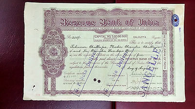 Reserve Bank Of India Rbi Share Stock Certificate Rare 1935 Used Cancelled  X20
