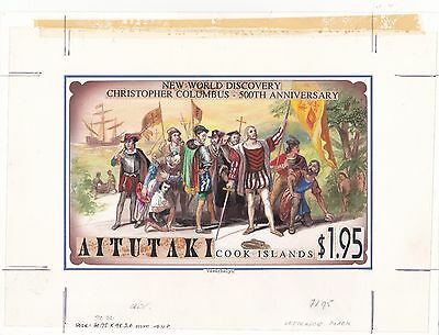 Aitutaki 1992 Columbus America Original Artwork for issued $1.95 Superb & UNIQUE