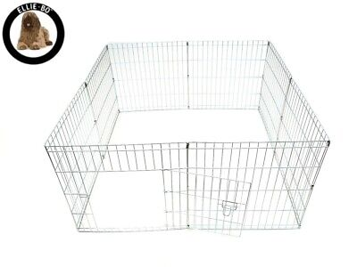 Puppy Rabbit Play Pen Silver 8 Piece Lightweight Galvanized Steel Hinged Door