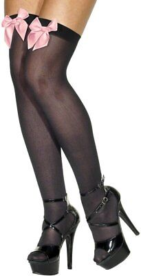 Ladies Black Thigh High Stockings Black and Pink for fancy dress