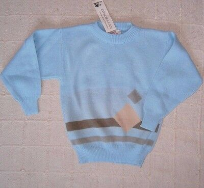 Vintage Crew-Neck Sweater - Age 7-8 - Blue/Beige - Windsor -  Acrylic - New