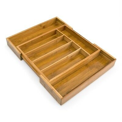 Adjustable Bamboo Tray With Compartments Kitchen Drawer Cutlery Organiser Brown