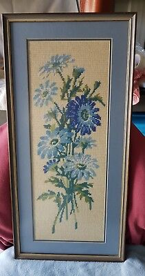 Vintage Framed Bouquet Of Blue Flowers Tapestry Wall Hanging.  24 Inches Tall.