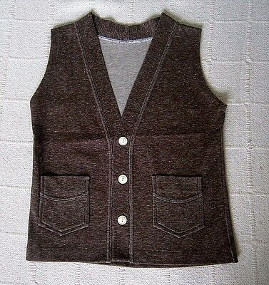 Vintage Stretch Waistcoat- Age 6 Years  Approx - Brown - Cotton/Nylon - New