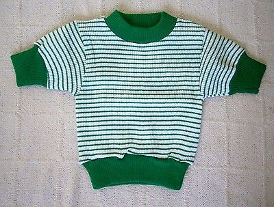 Vintage Girls Skinny Rib Top- Age 4 - Green/White Stripe - Short-Sleeve  - New