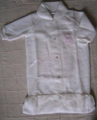 Vintage Fleecy Baby Sleeping Bag/Dressing Gown - up to 12 months - White-  New
