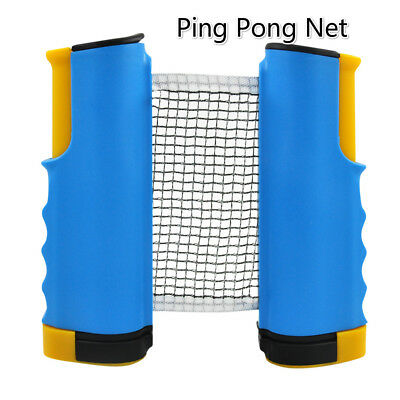 Table Tennis Net Stand Retractable Blue Mesh for Indoor Outdoor Ping Pong Play