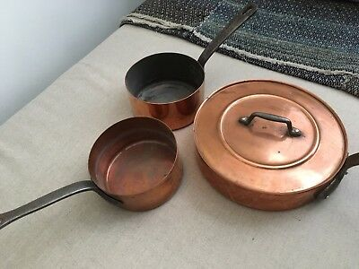 Set of 3 Vintage French Copper Saucepans, one with a lid