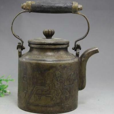 Chinese brass Portable Old Man tea Poetry Teapot Wine Pot