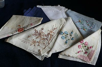 Bulk lot of 8 vintage handkerchiefs, all with stains/ age spots