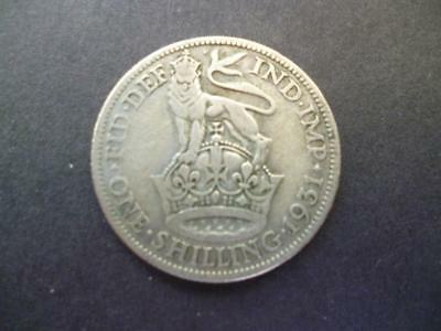 1931 Shilling Coin George 5Th In Good Circulated Condition, 50% Silver.