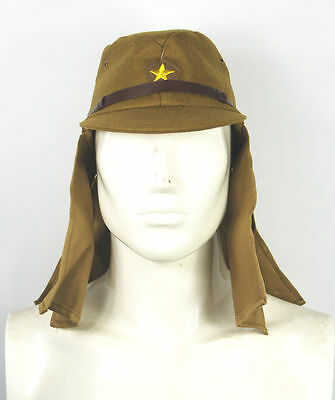 WWII Ww2 Japanese Army Soldier Field Wool Cap Hat with Havelock Neck Flap- L