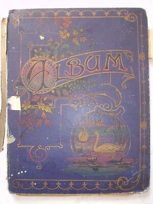 VICTORIAN and 1900's SCRAP BOOK ALBUM with decoupage items