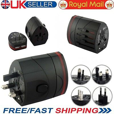 Universal Worldwide Multi Plug Adapter Travel Charger with Dual USB PORT UK Sell