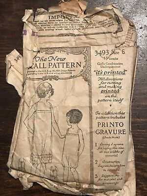 Antique 1920's McCall Printed Sewing Pattern 3493 Girl's Undergarment size 6