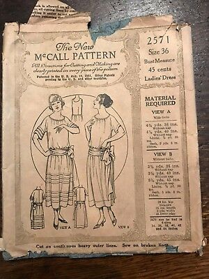 Antique 1920's McCall Printed Sewing Pattern 4647 Ladies' Dress size 36 COMPLETE