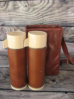 Vintage Stanley Aladdin Dual Pint Thermos Picnic Lunch Set With Carry Case Brown