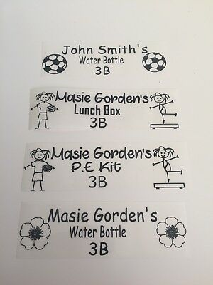 Clear personalised school labels - water bottles, P.E. kit, lunch box