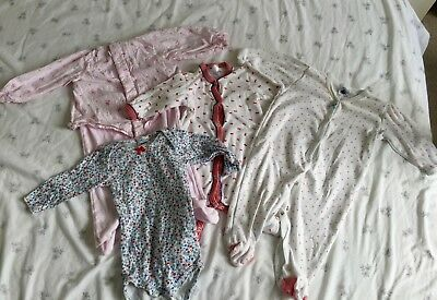 Petit Bateau bundle, girls, 3 months, vest & long leg/arm babygrows (4 items)