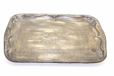 1900s Antique Vintage Beautiful Hand Engraved Rectangle Shape Brass Tray/Plate