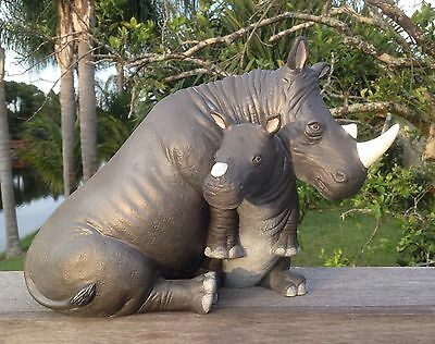 "RARE 1945 Rhinoceros Mother & Child/Baby Statue Ceramic w/glass Eyes 14"" Long"