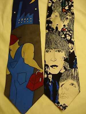 The Beatles lot of (2) necktie's Hard Day's Night and Revolver