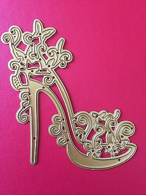 NEW• FABULOUS FLORAL STILETTO SHOE DIE For Use With Cuttlebug Or Sizzix