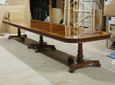 Beautiful 16' traditional mahogany 3 pedestal formal dining table seats 14-16