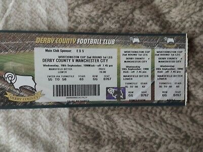 DERBY COUNTY v MANCHESTER CITY 16.09.98 WORTHINGTON CUP USED TICKET STUB