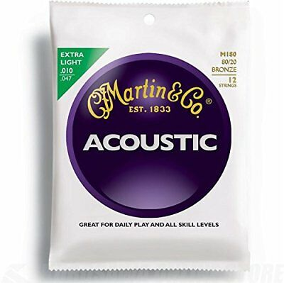 Martin 80 20 12 Acoustic Guitar Strings 12 String  - Bronze  Extra Light, .010 -