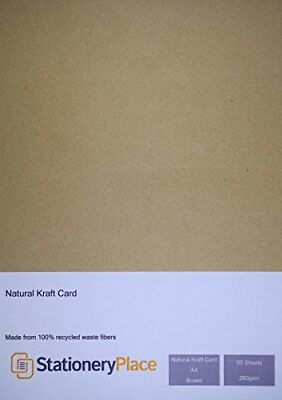 Stationery Place Thick - Brown Recycled Natural Kraft Card - A4 280 GSM 50 Sheet