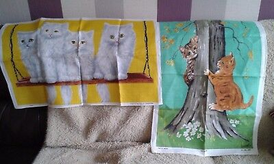 Vintage linen tea towels x 2 , cats and kittens
