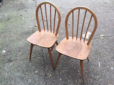 Vintage 60s Pair Of Ercol Elm And Beech Windsor Chairs Good Vintage Condition