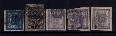 1886 Nepal Early stamps,Sc# 9;14;10;15;23 Used, CV:$44.00