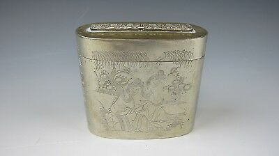 Vintage/Antique Chinese Silver Metal Tea Caddy with Writing and Village Scene