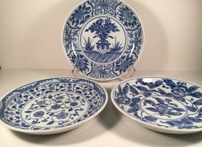 Three Beautiful Vintage Asian Blue And White Porcelain Plates/bowls